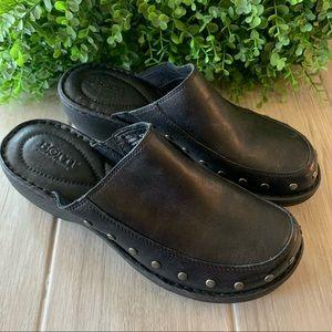 Women's Born Black Leather Clogs Slip On size 9M
